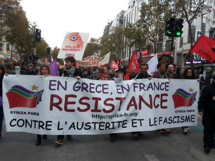 In Greece, in France, resistance against austerity and fascism, Syriza Paris