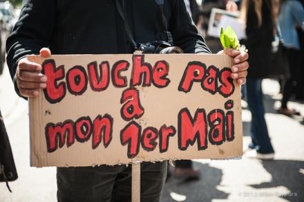 Defilement manifestation du premiere mai à Strasbourg, le 01 Mai 2012.